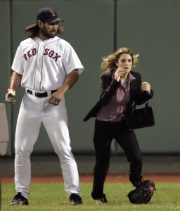 "Drew Barrymore and Jimmy Fallon Shoot the Farrelly Brothers' New Film ""Fever Pitch"" at Fenway Park - September 16, 2004"