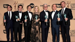 "LOS ANGELES, CA - JANUARY 30: (L-R) Actors Billy Crudup, Brian d'arcy James, Mark Ruffalo, Rachel McAdams, John Slattery, Michael Keaton and Liev Schreiber, winners of the award for Outstanding Performance by a Cast in a Motion Picture for ""Spotlight,"" pose in the press room during The 22nd Annual Screen Actors Guild Awards at The Shrine Auditorium on January 30, 2016 in Los Angeles, California. 25650_015 (Photo by Jason Merritt/Getty Images for Turner)"