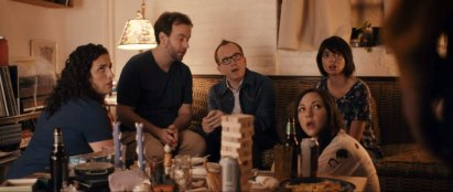 DON'T THINK TWICE, back, from left: Tami Sagher, Mike Birbiglia, Chris Gethard, Kate Micucci, 2016.