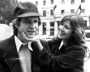 Harrison Ford and Carrie Fisher on Fifth Ave outside The Pla